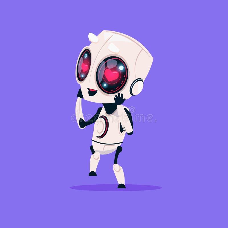 Śliczny robot Z Kierowych kształtów oczu Odosobnioną ikoną Na Błękitnego tła technologii Sztucznej inteligenci Nowożytnym pojęciu ilustracja wektor