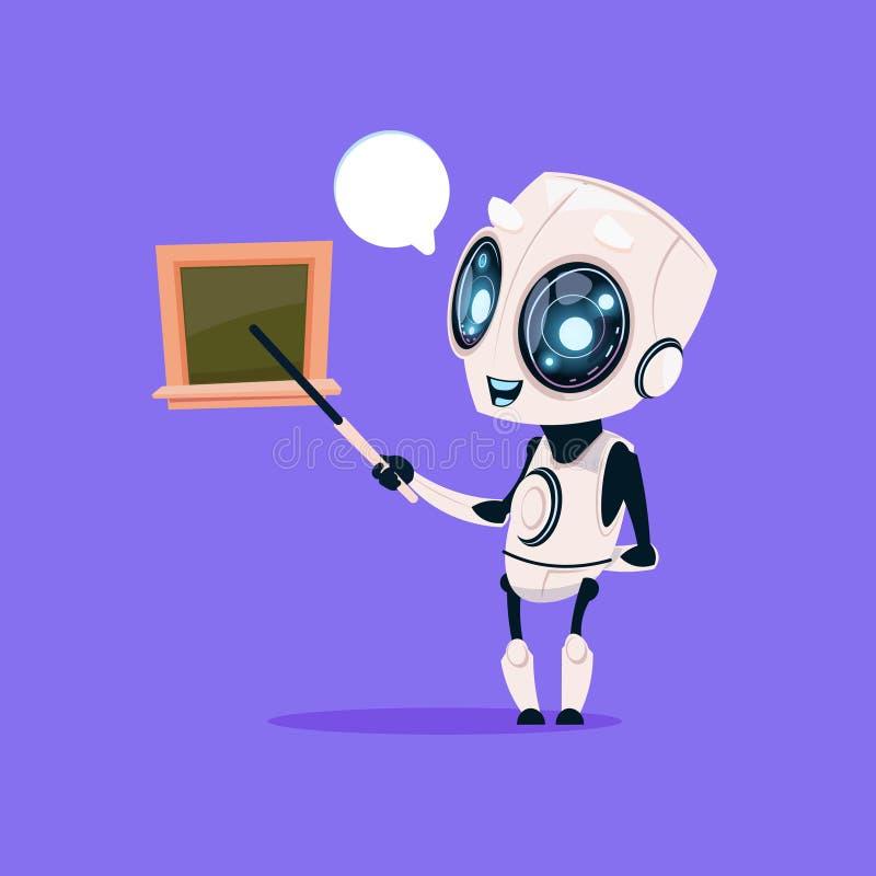 Śliczny robota nauczyciela chwyta pointer Blisko zarząd szkoły Odosobnionej ikony Na Błękitnego tła Nowożytnej technologii Sztucz royalty ilustracja