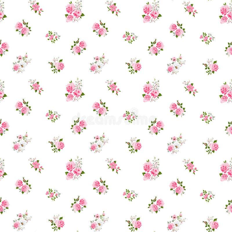 Śliczny rocznik róży wzór również zwrócić corel ilustracji wektora ilustracja wektor