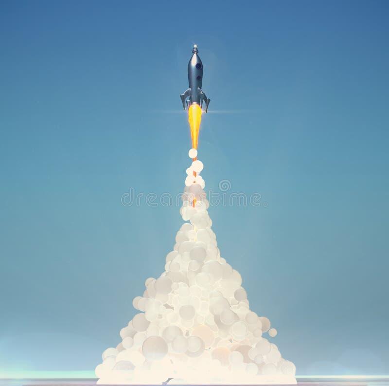 Śliczny rocznik rakiety wodowanie z miękkim puszystym dymem na bławym tle 3d odpłaca się ilustracji