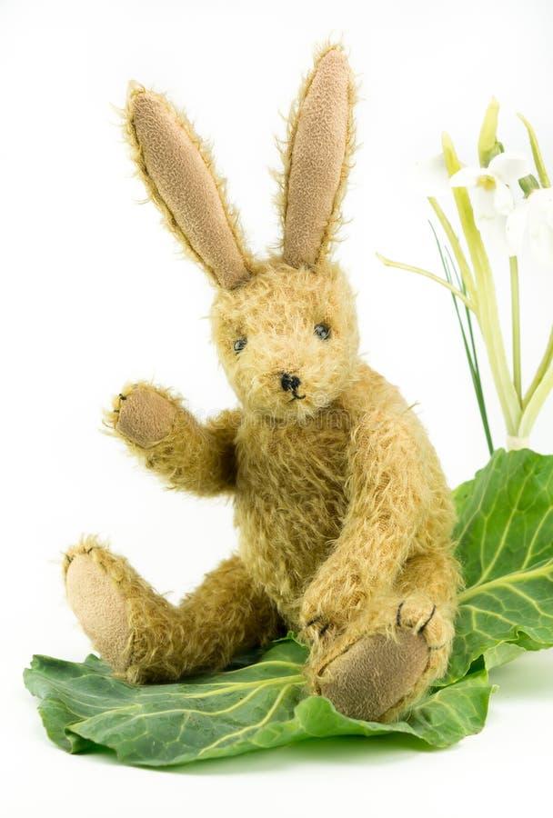 Śliczny rocznik zabawki królika królika falowanie cześć fotografia stock