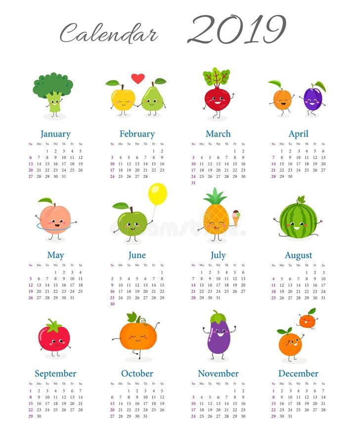 Śliczny rocznika kalendarz 2019 ilustracja wektor