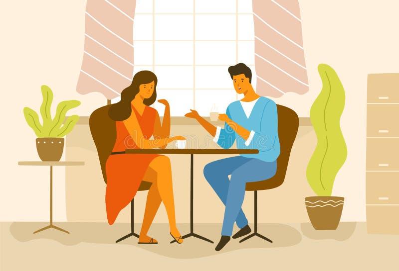 Śliczny romantyczny pary obsiadanie przy kawiarnia stołem Chłopak i dziewczyna pije kawę i opowiadać Młody człowiek wewnątrz i ko ilustracja wektor