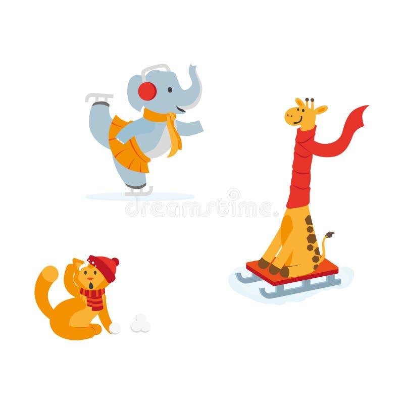 Śliczny słoń, żyrafa kot ma zabawę w zimie ilustracji
