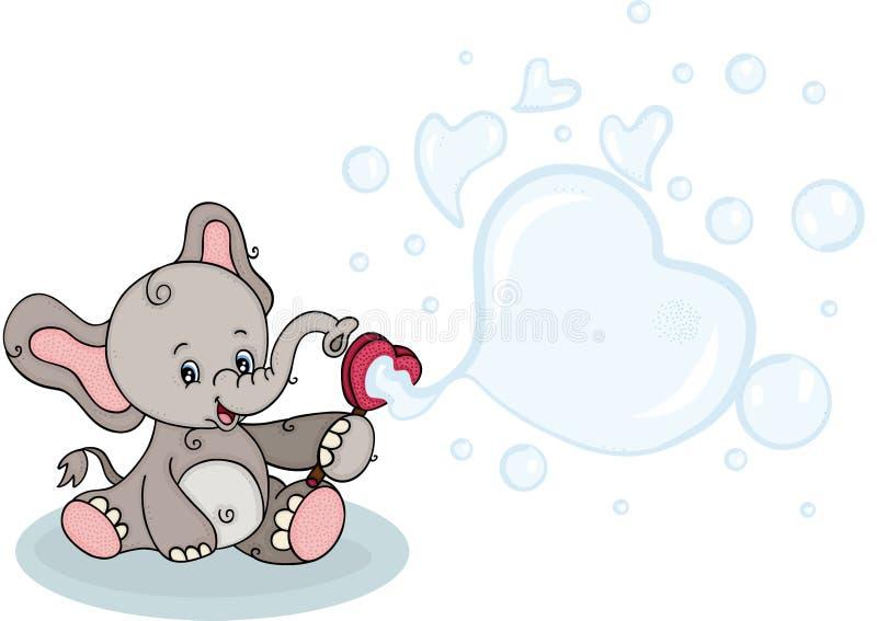 Śliczny słoń dmucha mydlanych bąble ilustracji