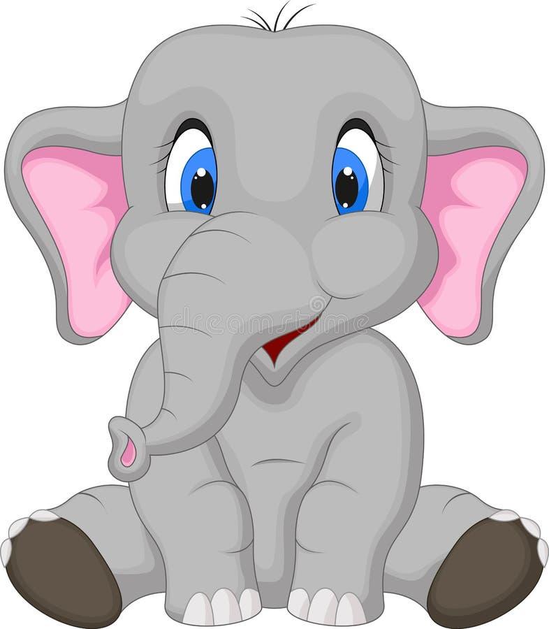 Śliczny słoń kreskówki obsiadanie royalty ilustracja
