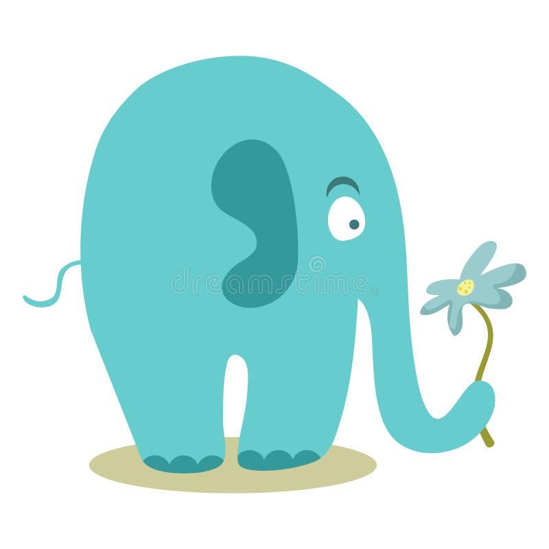 Śliczny słoń trzyma kwiatu ilustracja wektor