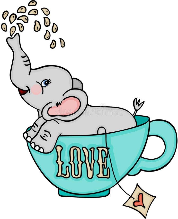 Śliczny słoń w miłości herbacianej filiżance ilustracji