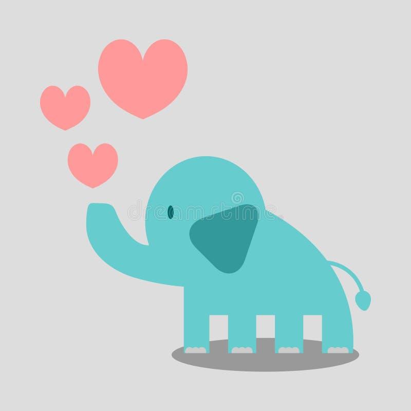 Śliczny słoń w miłości ilustracji