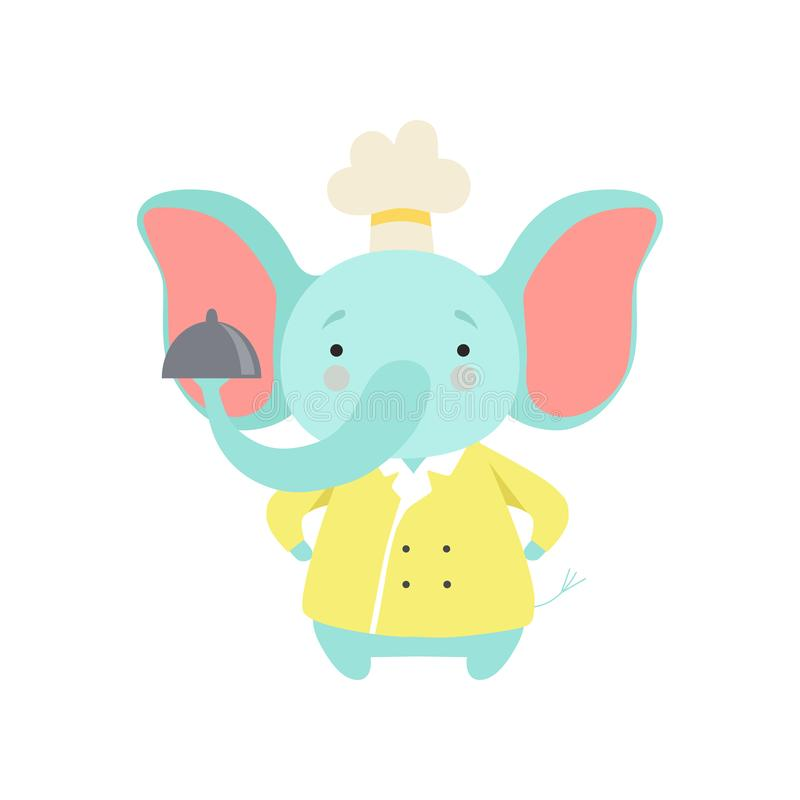 Śliczny słoń w szefa kuchni munduru mienia srebra półmisku, kreskówka zwierzęcego charakteru kulinarna wektorowa ilustracja na bi ilustracji