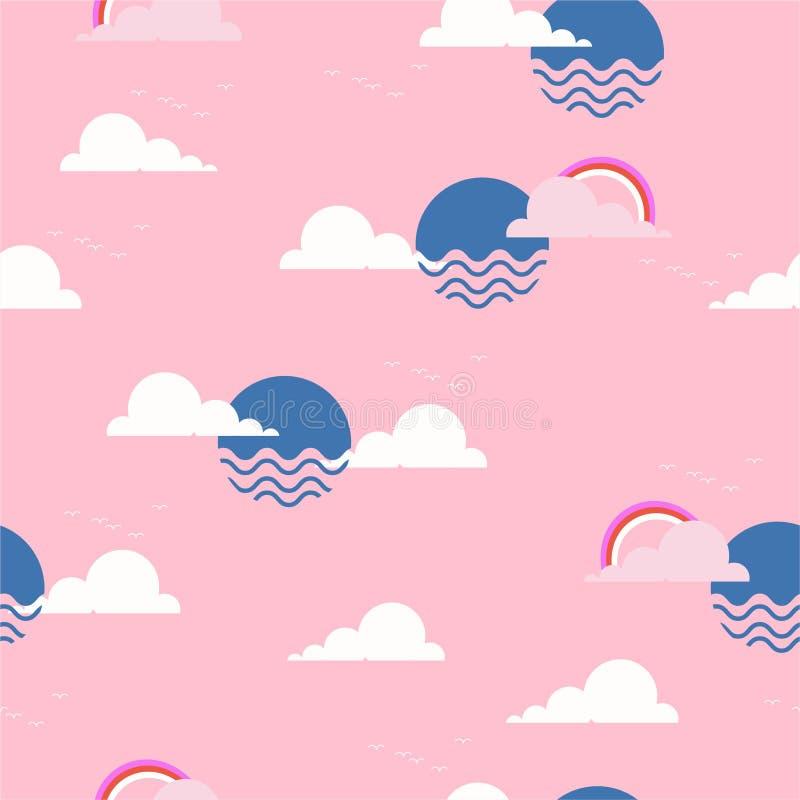 Śliczny słońce i niebo z Bezszwowym wielostrzałowym deseniowym Wektorowym ilustracyjnym projektem dla tekstylnych grafika tęczy i royalty ilustracja