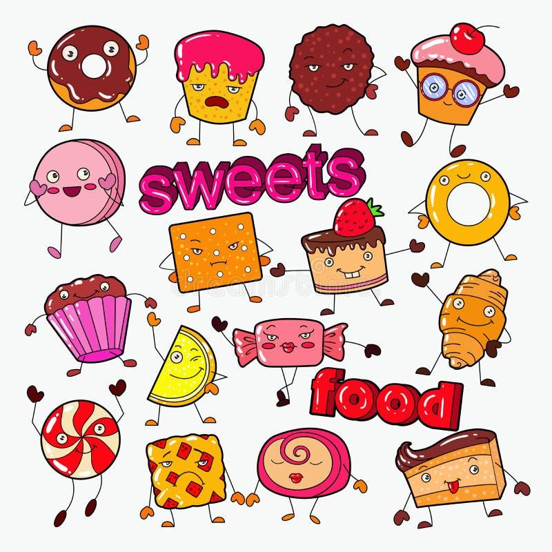 Śliczny Słodki Karmowy cukierków charakterów Doodle z ciastkiem, babeczką i lizakiem, ilustracji