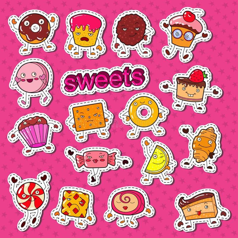 Śliczny Słodki Karmowy cukierków charakterów Doodle z ciastkiem, babeczką i lizakiem dla, druków, majcherów i odznak, ilustracji