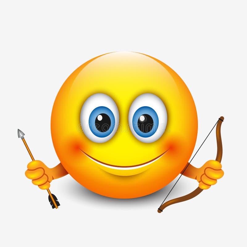 Śliczny sagittarius emoticon, emoji horoskop wektorowa ilustracja - astrologiczny znak - zodiak - ilustracji