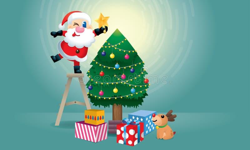 ?liczny Santa i jego renifer dekorujemy choinki ilustracji