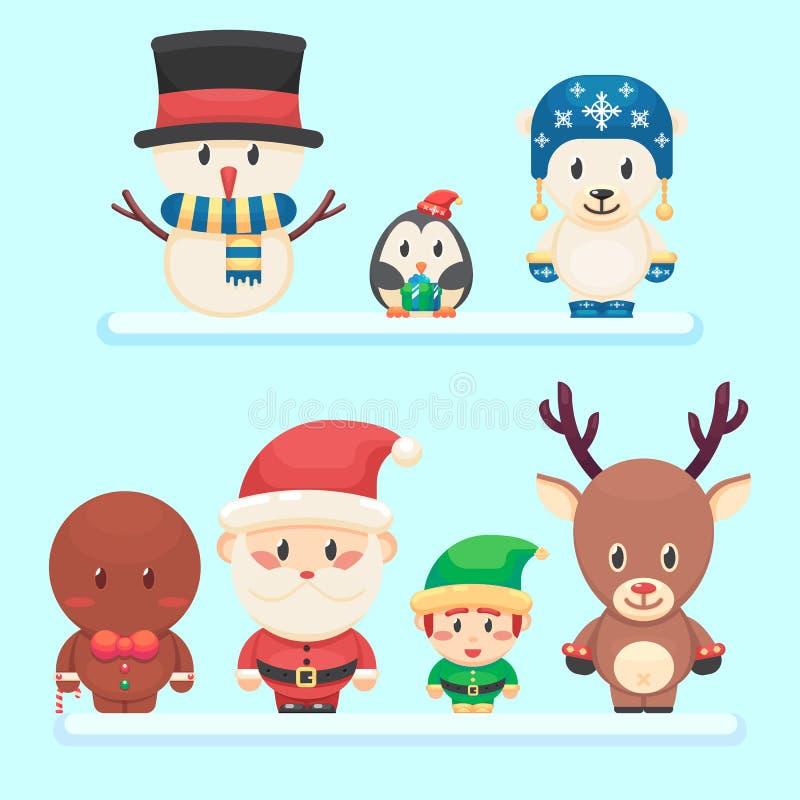 Śliczny Santa, mały śmieszny elf, niedźwiedź polarny, pingwin, bałwanu imbirowy mężczyzna Bożenarodzeniowy charakter - set Wektor ilustracji