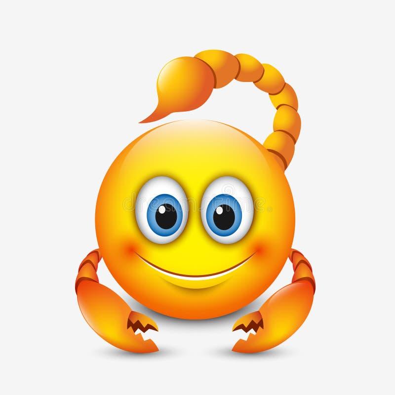 Śliczny scorpio emoticon, emoji horoskop wektorowa ilustracja - astrologiczny znak - zodiak - ilustracji