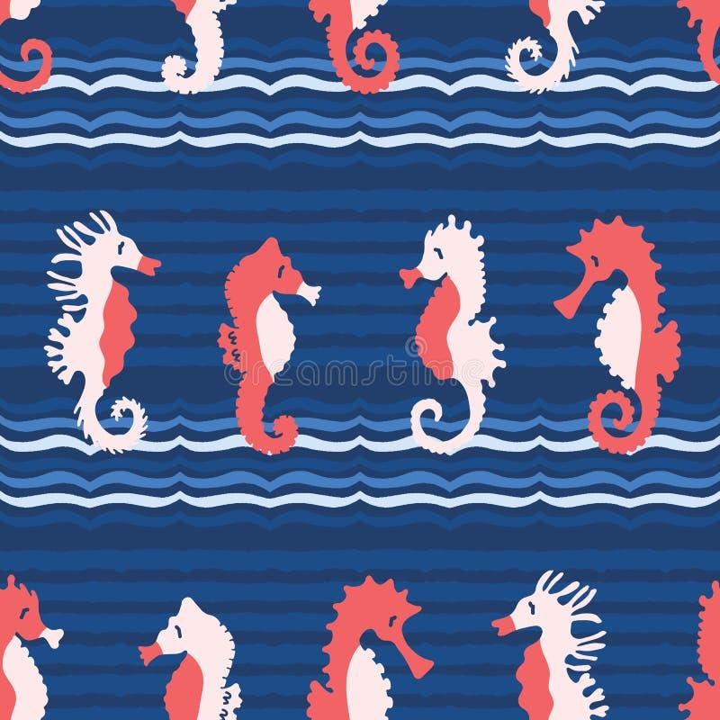 Śliczny seahorses kreskówki ilustracji wzór Ręka rysujący oceanów zwierząt bezszwowy wektorowy tło Nautyczna plażowa odzież ilustracja wektor
