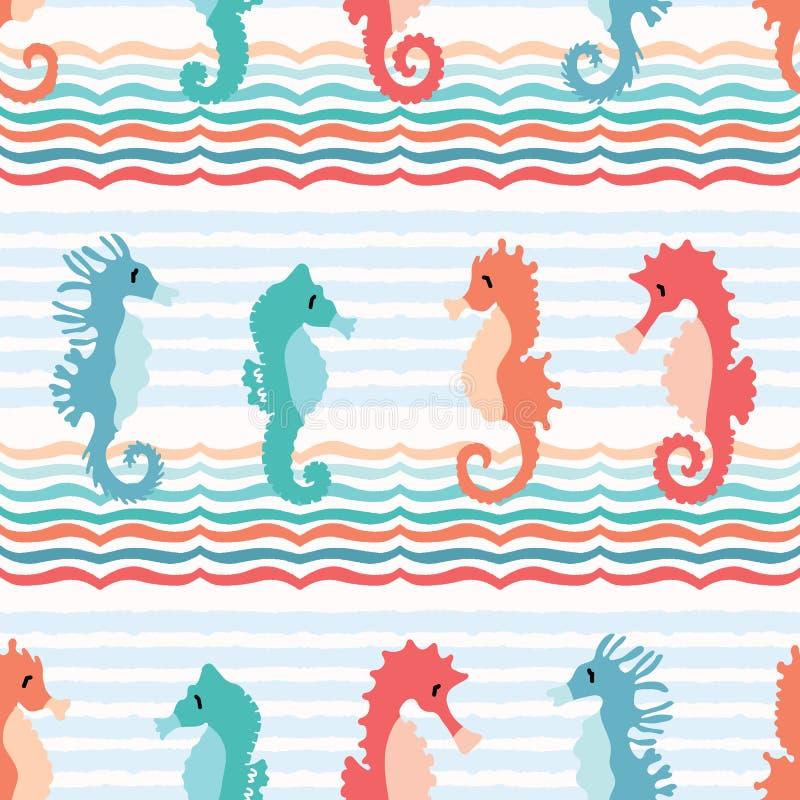Śliczny seahorses kreskówki ilustracji wzór Ręka rysujący oceanów zwierząt bezszwowy wektorowy tło Nautyczna plażowa odzież royalty ilustracja