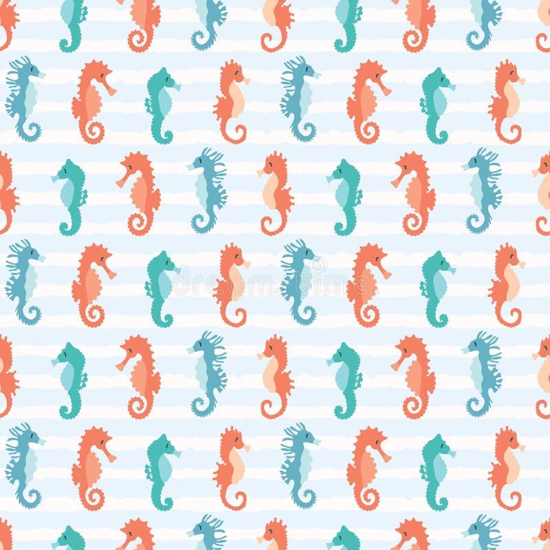 Śliczny seahorses kreskówki ilustracji wzór Ręka rysujący oceanów zwierząt bezszwowy wektorowy tło Nautyczna plażowa odzież ilustracji