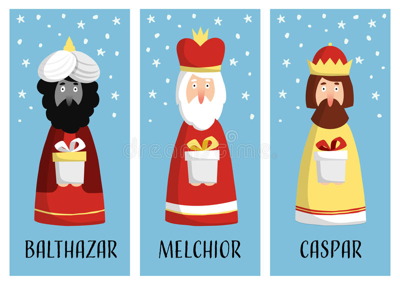 Śliczny set Bożenarodzeniowi kartka z pozdrowieniami, prezent etykietki z trzy magi royalty ilustracja