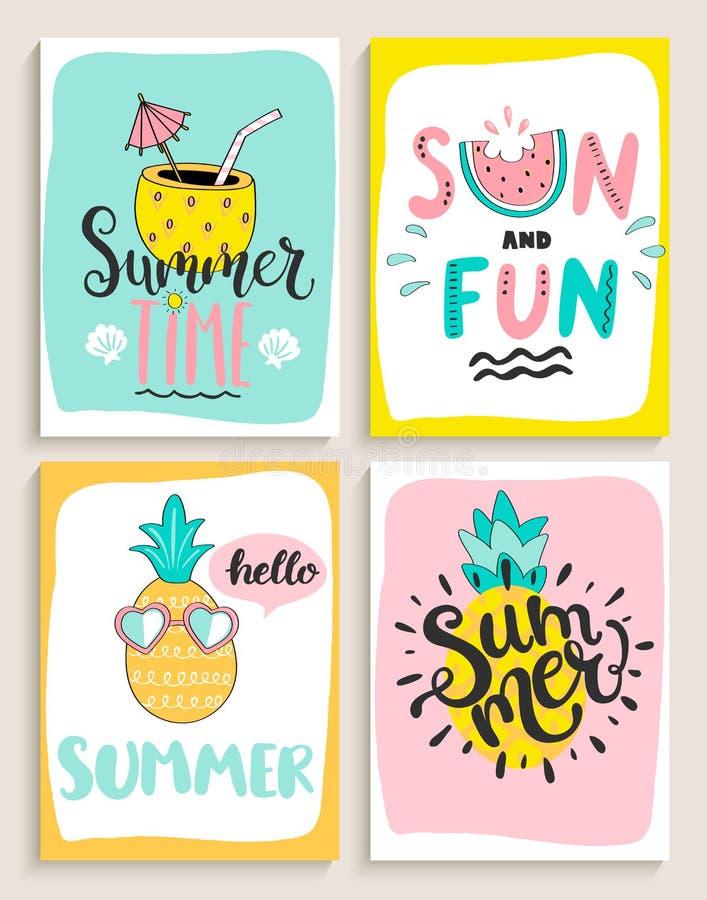 Śliczny set 4 jaskrawej lato karty ilustracji