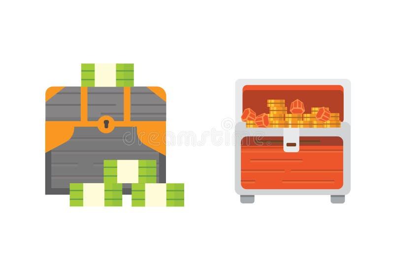 Śliczny set różne klatki piersiowe Kreskówki ilustracyjnej klatki piersiowej pieniądze Bezpieczny wektor ilustracji