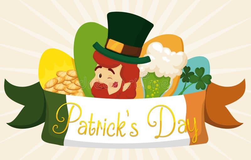 Śliczny set Tradycyjni elementy St Patrick dnia świętowanie, Wektorowa ilustracja ilustracji