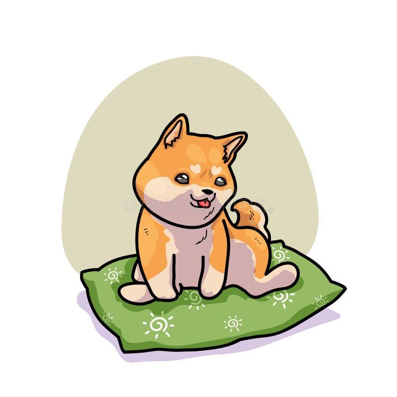 Śliczny Shiba inu relaksuje na poduszce ilustracji