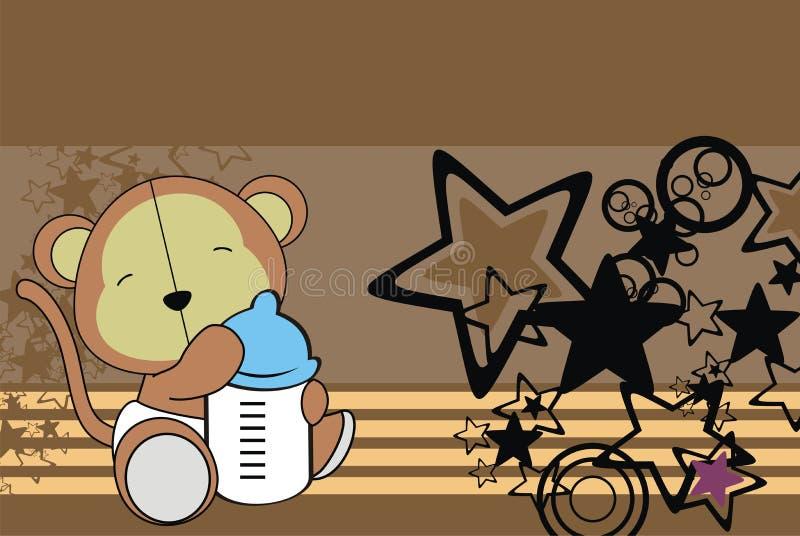 Śliczny siedzący dziecko zabawki małpy kreskówki tło ilustracji