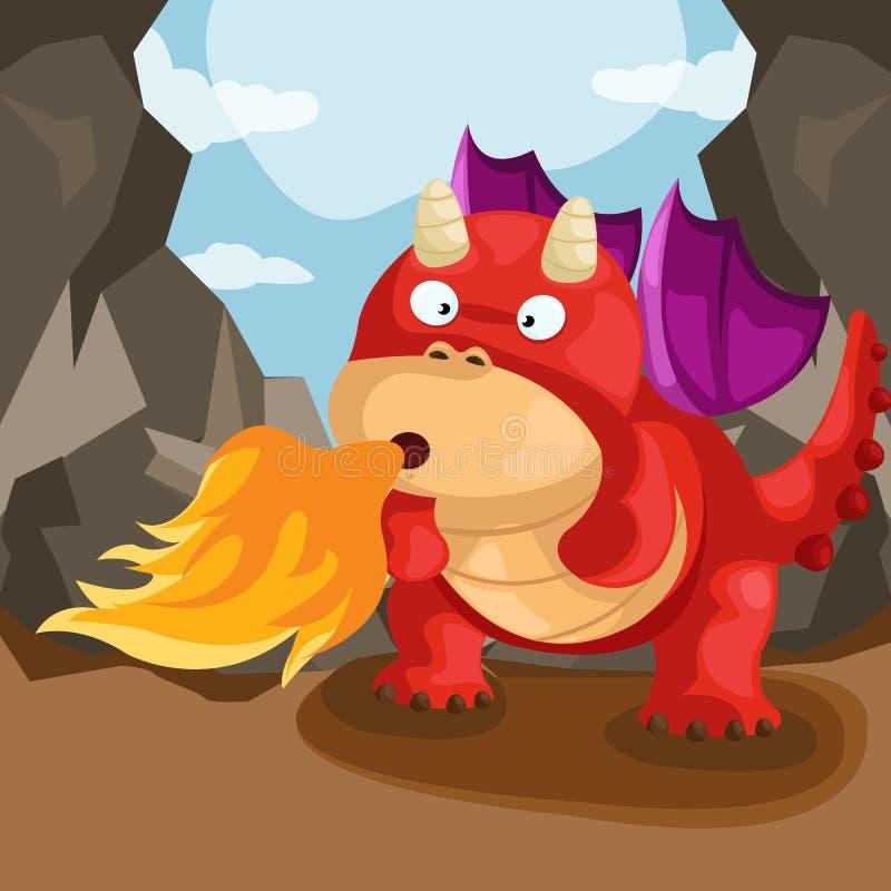 Śliczny smoka ciosu ogień royalty ilustracja