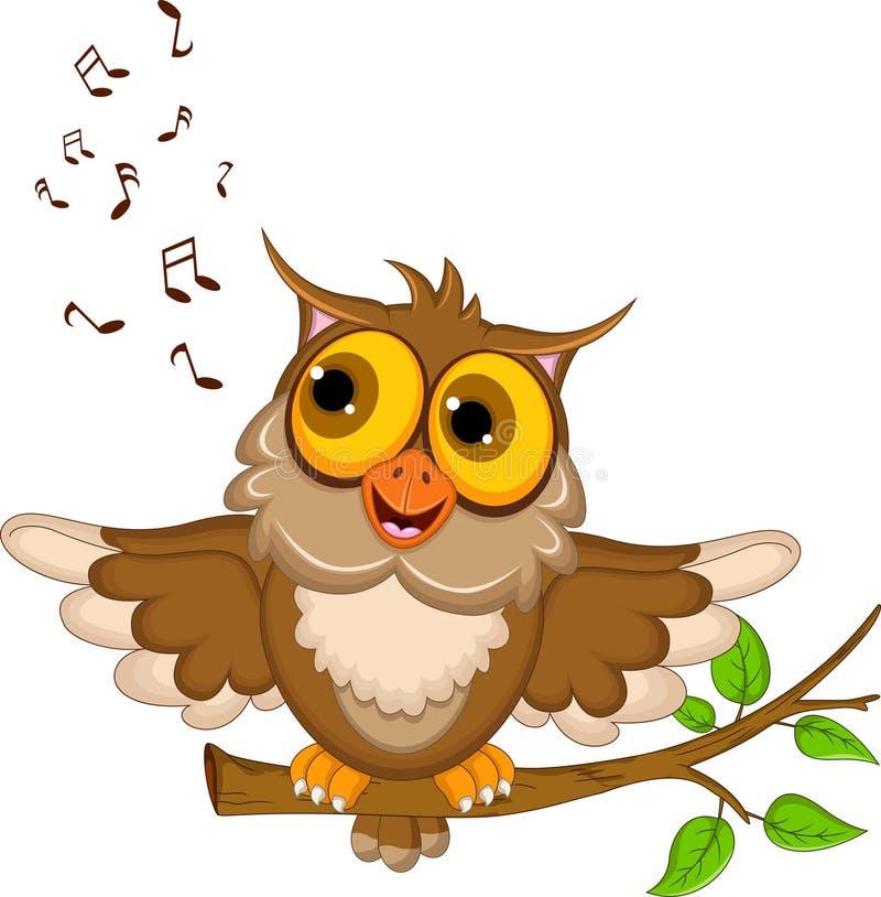 Śliczny sowy kreskówki śpiew ilustracja wektor