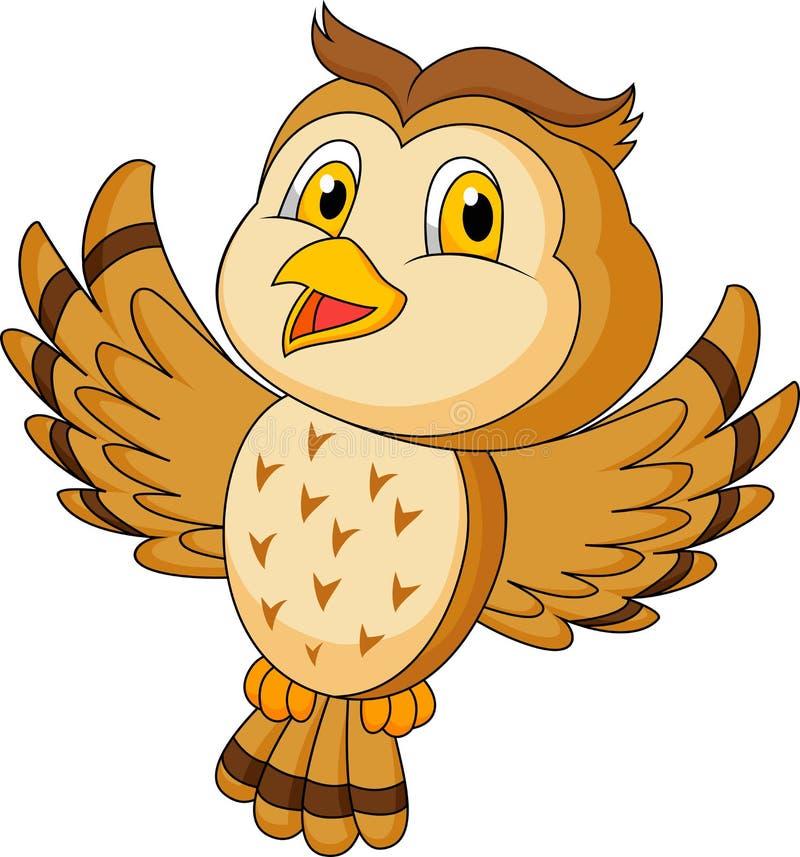 Śliczny sowy kreskówki latanie ilustracja wektor