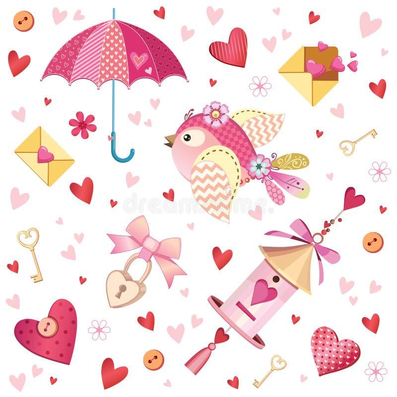 Śliczny spadek w miłości kolekci Ładni romantyczni odosobneni elementy Kwiaty, pary, prezenty, dekoracje i romantyczne atmosfer r royalty ilustracja