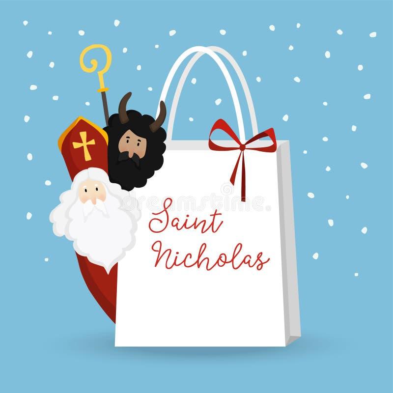Śliczny St Nicholas z diabłem i spada śniegiem Bożenarodzeniowy zaproszenie, kartka z pozdrowieniami Mieszkanie dzieciaków projek royalty ilustracja