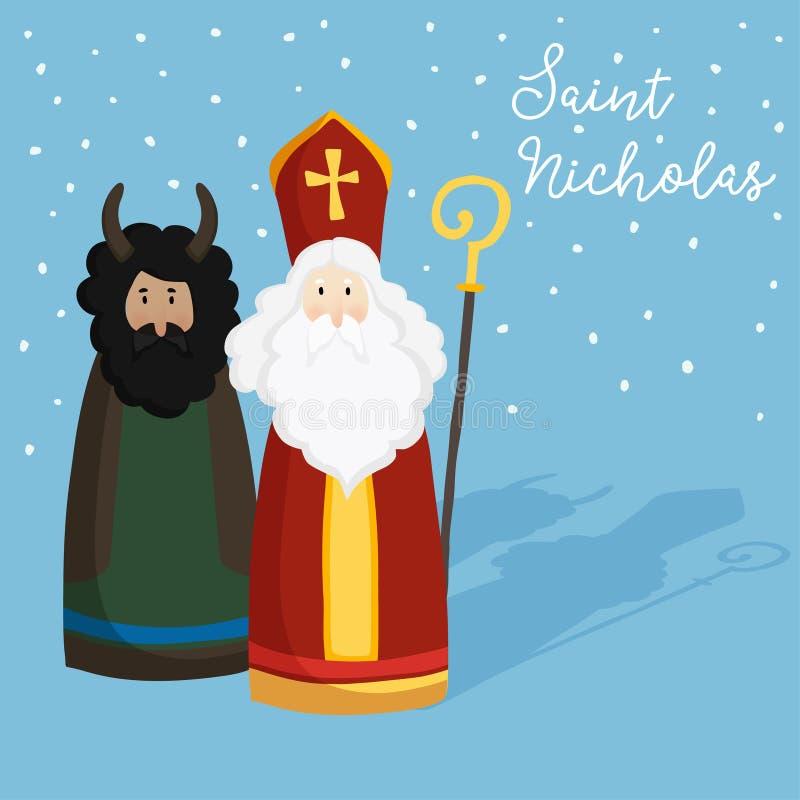 Śliczny St Nicholas z diabłem, tekstem i spada śniegiem, Bożenarodzeniowy zaproszenie, kartka z pozdrowieniami Mieszkanie dziecia ilustracja wektor