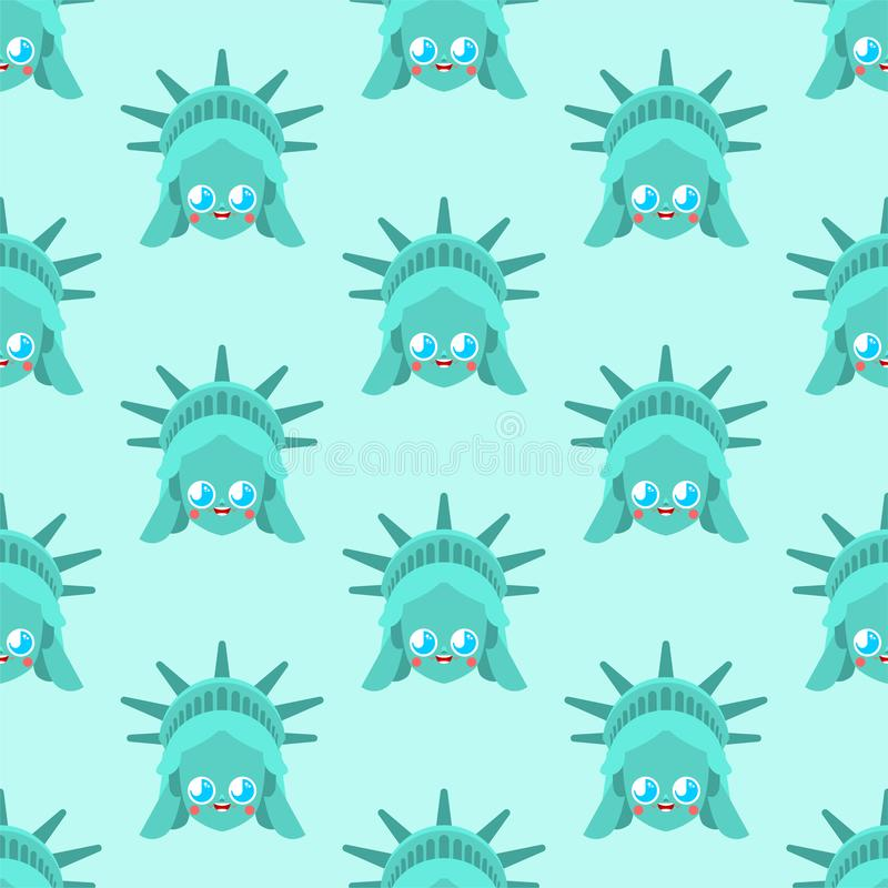 Śliczny statua wolności wzór bezszwowy śmieszny punktu zwrotnego Stany Zjednoczone wzór dzieciaka charakter Ameryka jest symbolem ilustracji