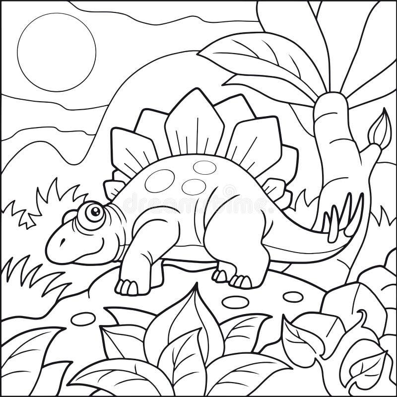 Śliczny stegozaur, kolorystyki książka ilustracji
