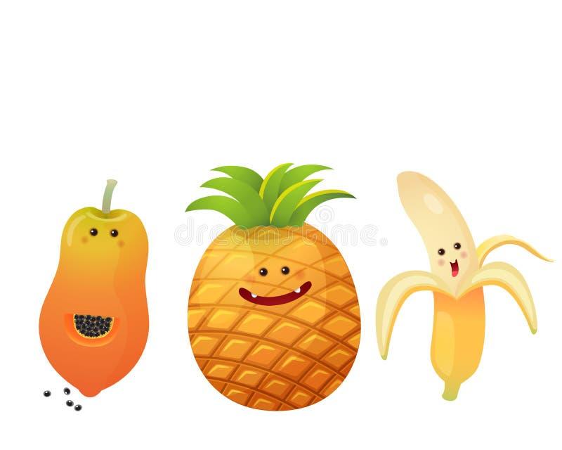 Śliczny strugający banan, sosnowy jabłko, melonowiec royalty ilustracja