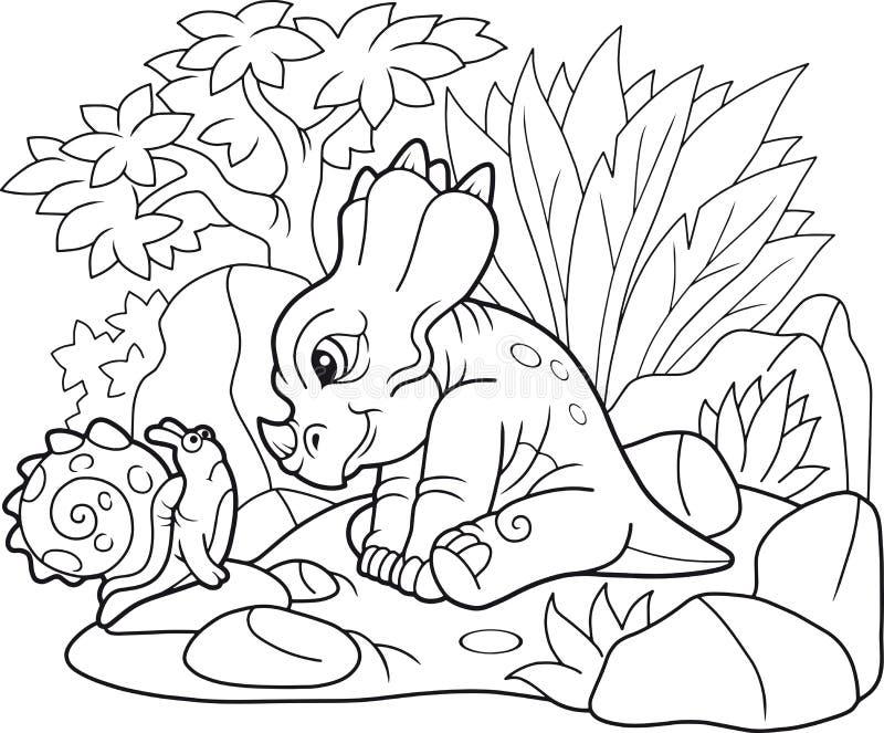 Śliczny styracosaurus patrzeje ślimaczka royalty ilustracja