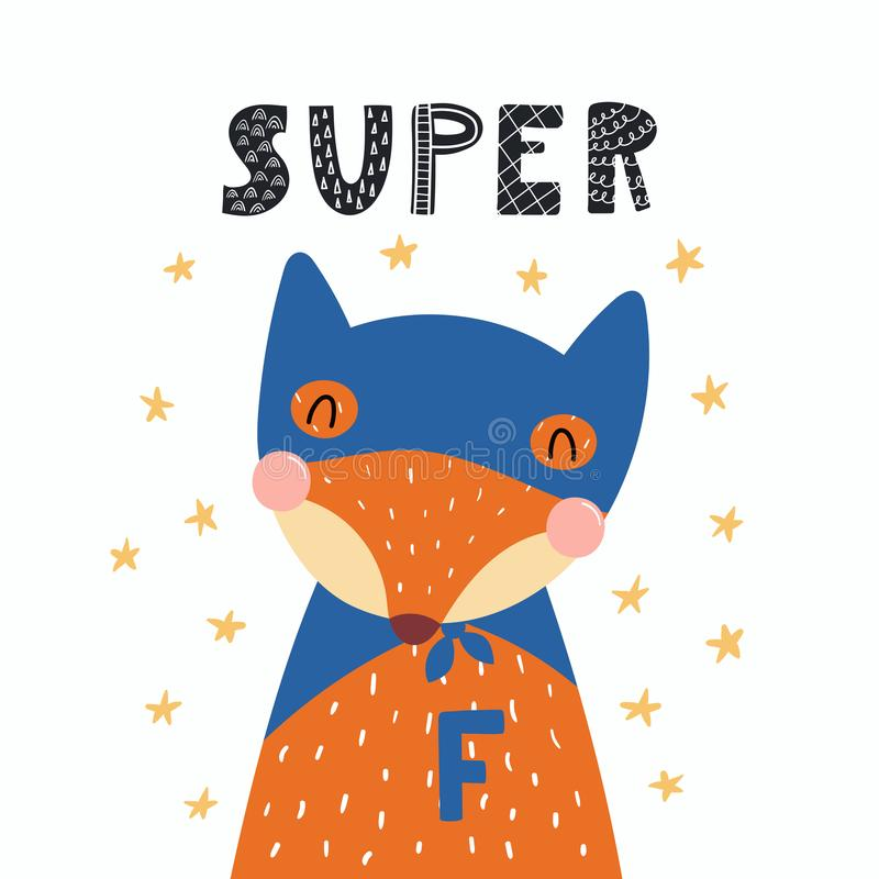 Śliczny super bohatera lis royalty ilustracja