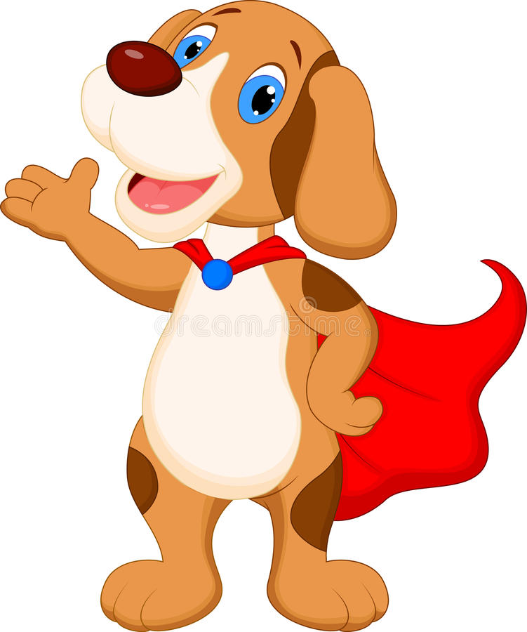 Śliczny super psi kreskówki przedstawiać ilustracja wektor