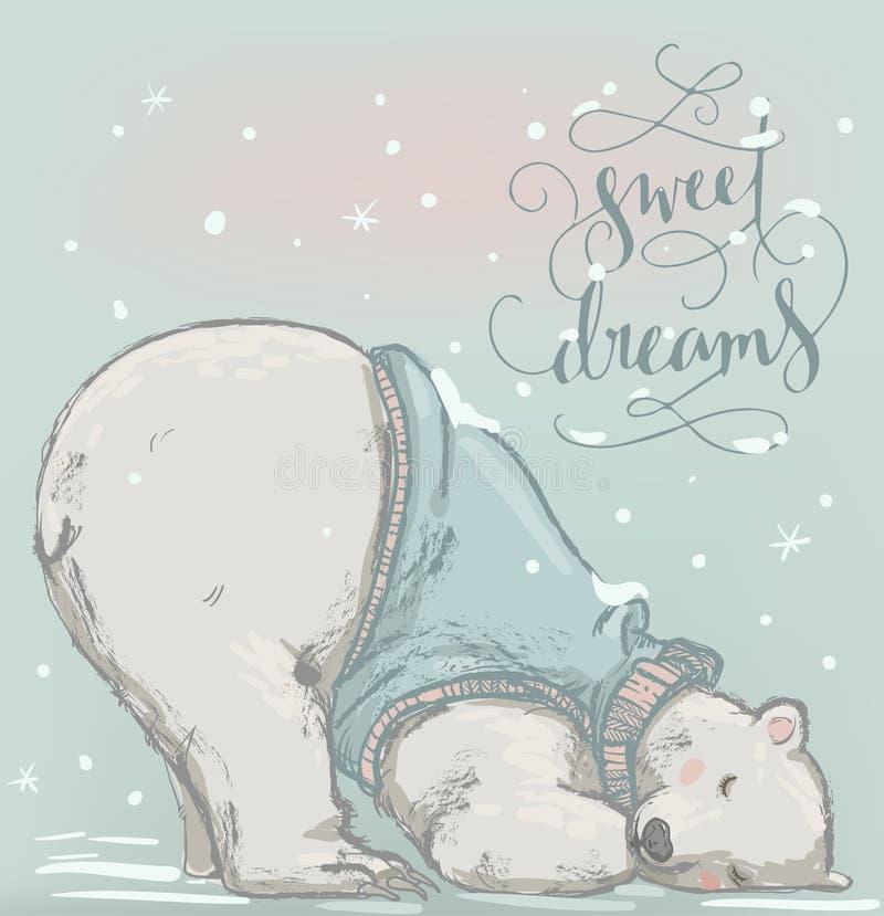 Śliczny sypialny niedźwiedź polarny royalty ilustracja
