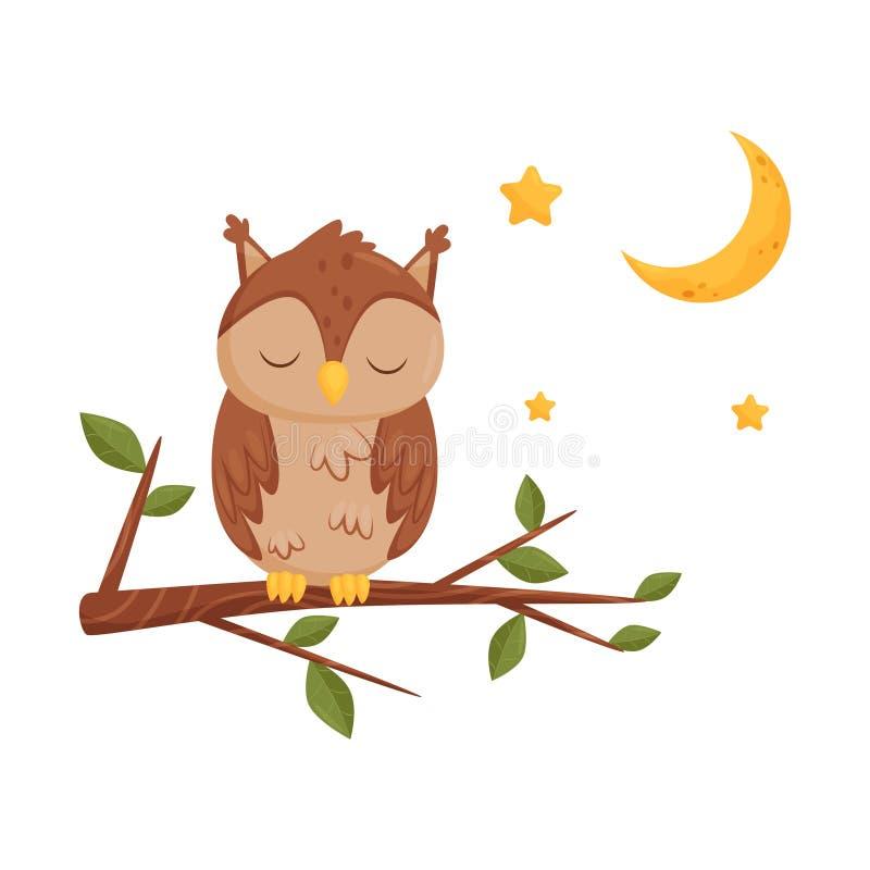 Śliczny sypialny owlet obsiadanie na gałąź, urocza ptasia postać z kreskówki, dobranoc projekta element, słodcy sen wektorowi ilustracja wektor