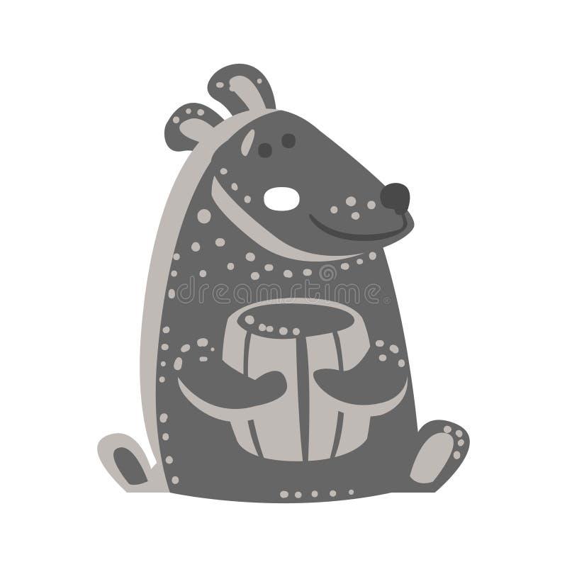 Śliczny szary miś siedzi miód baryłkę i trzyma Śmieszny uroczy zwierzęcy kolorowy postać z kreskówki wektor ilustracji