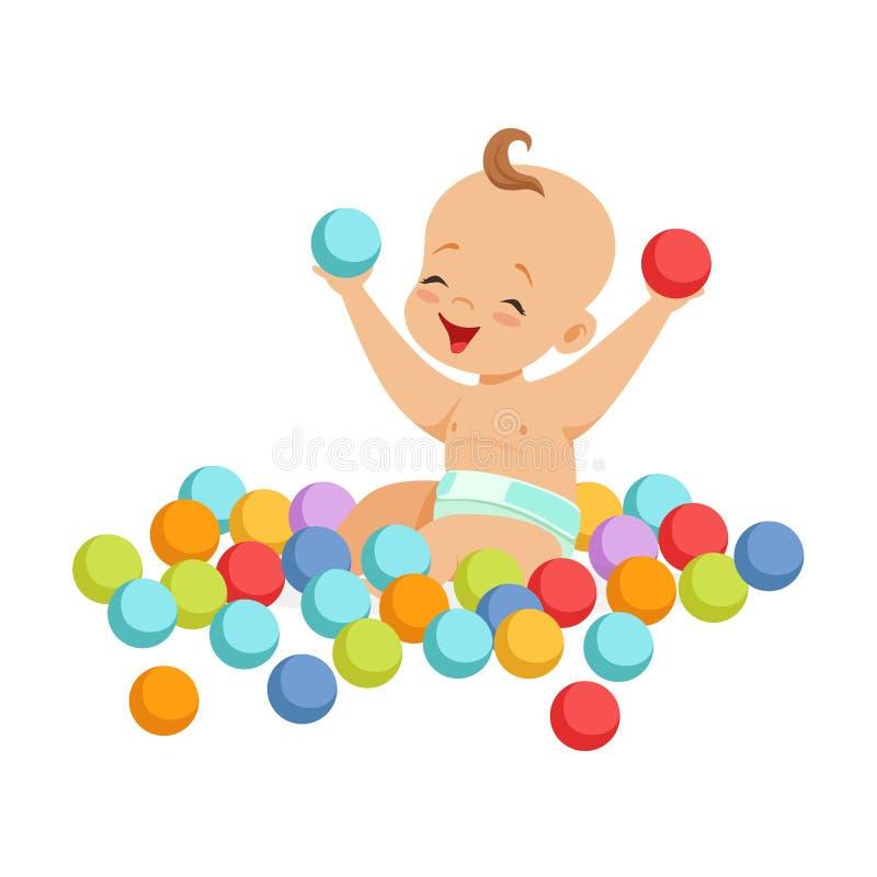 Śliczny szczęśliwy dziecka obsiadanie i bawić się z stubarwnymi małymi piłkami, kolorowa postać z kreskówki wektoru ilustracja ilustracji