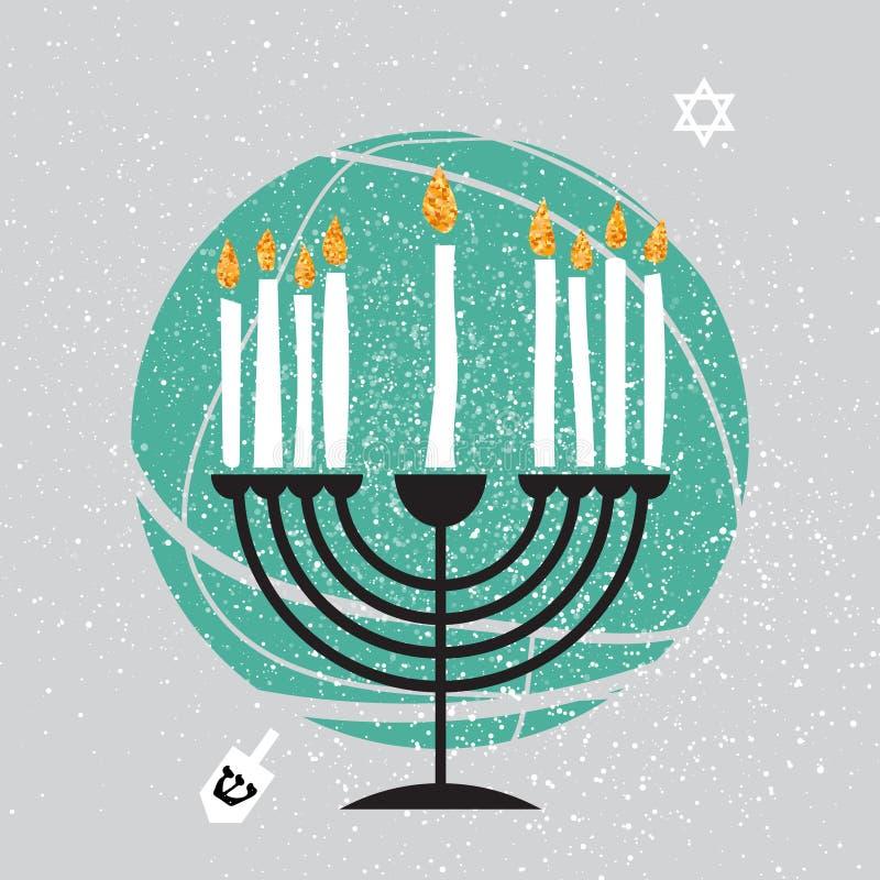Śliczny Szczęśliwy Hanukkah kartka z pozdrowieniami Żydowski wakacje z menorah