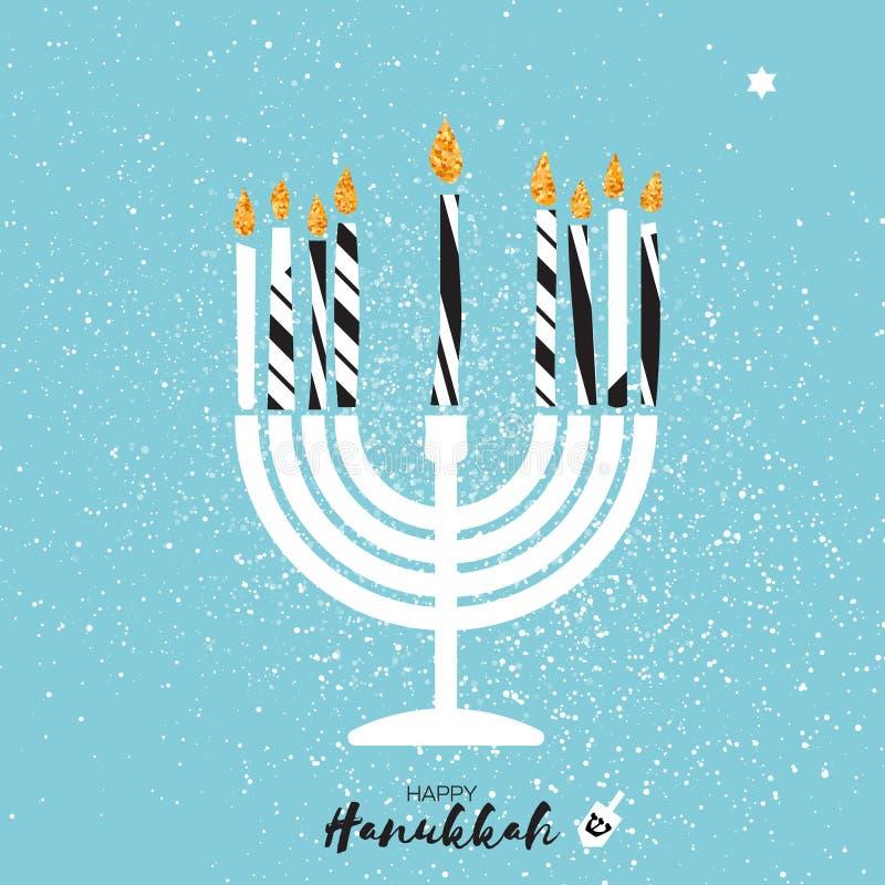 Śliczny Szczęśliwy Hanukkah kartka z pozdrowieniami z złocistymi błyskotliwość elementami
