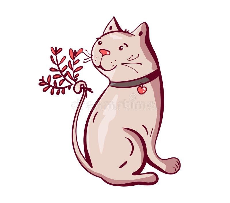 Śliczny szczęśliwy kota charakteru mienia kwiat z literowanie kaligrafii tekstem Ręka rysująca, wektorowa romantyczna ilustracja  royalty ilustracja