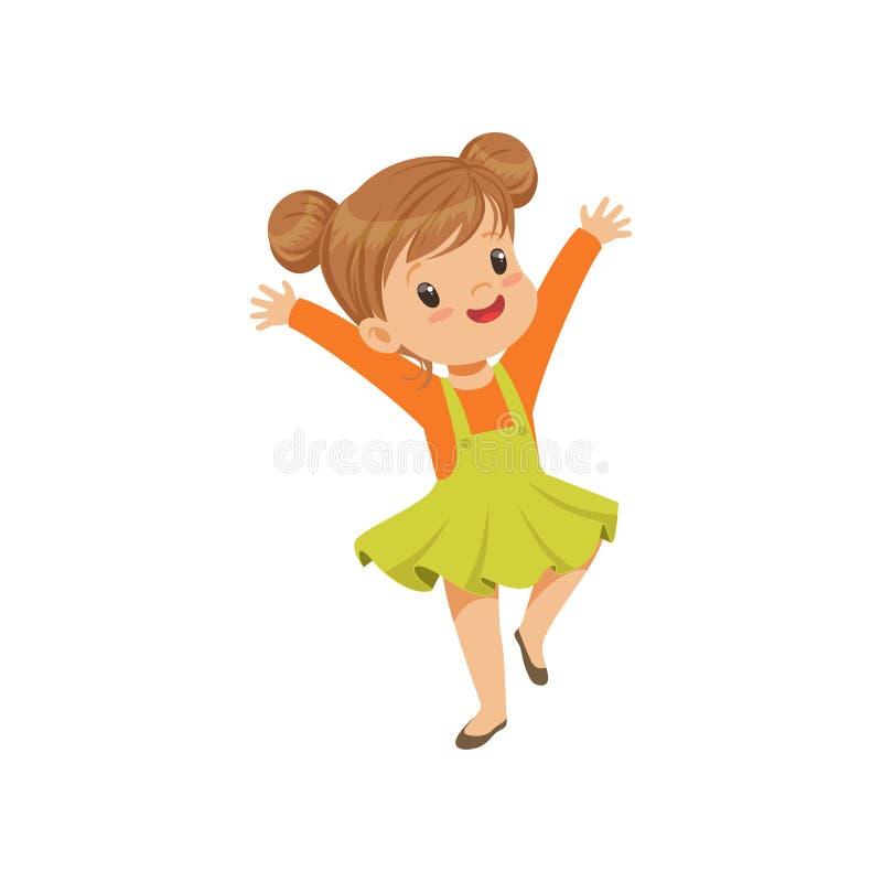 Śliczny szczęśliwy mała dziewczynka taniec w przypadkowych ubrań wektorowej ilustraci na białym tle ilustracji
